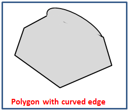 Irregular polygon with curved edge